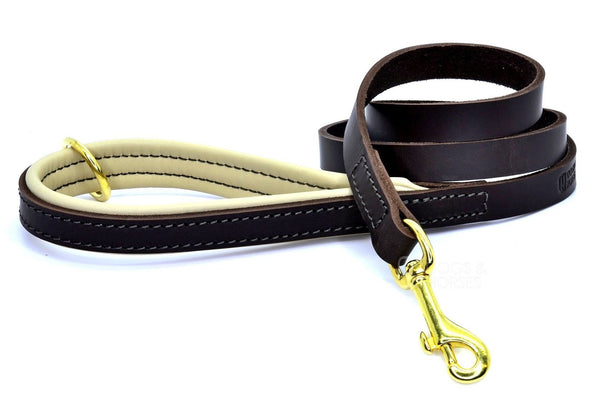 (Dogs&Horses) D&H London. Handmade Luxury brown flat leather dog lead with padded handle in soft Cream leather. 122 cm long (including handle) x 15mm wide