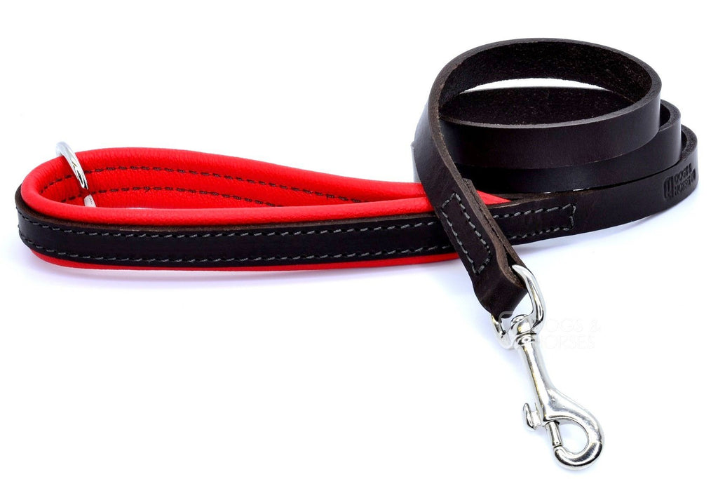 (Dogs&Horses) D&H London. Handmade Luxury Brown flat leather dog lead with padded handle in soft Red leather. 122 cm long (including handle) x 15mm wide