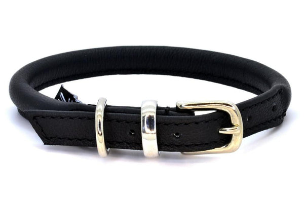Rolled leather dog collar, handmade in England by D&H London ( Dogs & Horses Ltd). In luxury soft black Italian leather