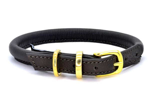 Rolled leather dog collar, handmade in England by D&H London ( Dogs & Horses Ltd). In luxury soft brown Italian leather