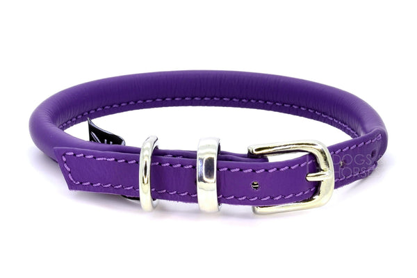 D&H ( Dogs & Horses Ltd) rolled leather dog collar, handmade in England from soft purple Italian leather