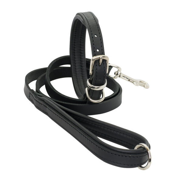 D&H Padded Leather Dog Collar and Lead Set