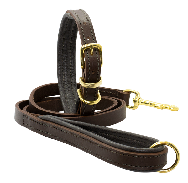 D&H Padded Leather Collar with Matching Padded Lead
