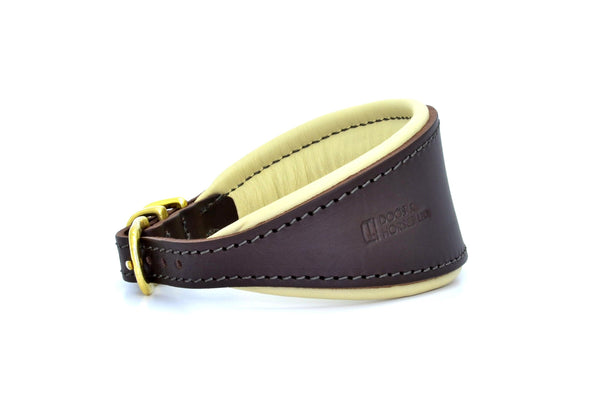 Padded Hound leather dog collar in brown, cream and brass. Handmade by (Dogs&Horses) D&H London. Luxury leather goods. Suitable for Whippets, Greyhounds, Lurchers
