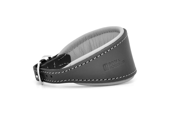 Padded Hound leather dog collar in charcoal, grey and silver. Handmade by (Dogs&Horses) D&H London. Luxury leather goods. Suitable for Whippets, Greyhounds, Lurchers