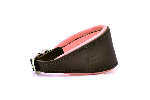 Padded Hound leather dog collar in brown, pink and silver. Handmade by (Dogs&Horses) D&H London. Luxury leather goods. Suitable for Whippets, Greyhounds, Lurchers