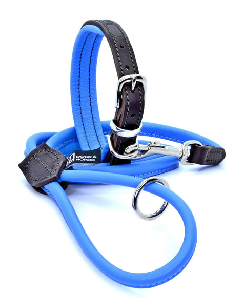 D&H Padded Leather Dog Collar and Rolled Leather lead Blue with Silver