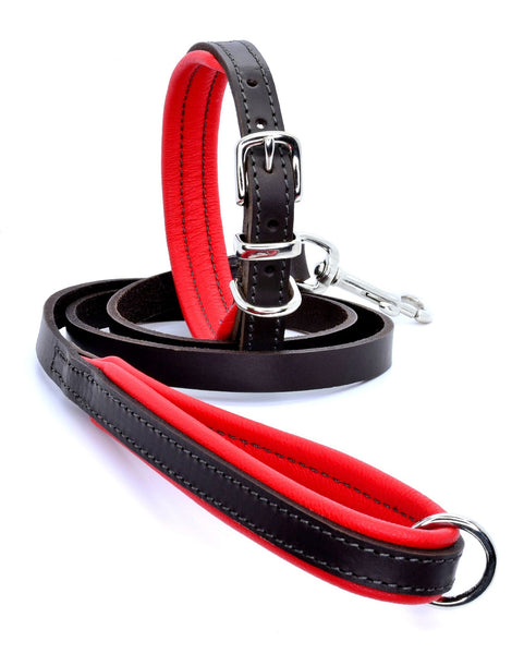 D&H Padded Leather Collar and Lead Red