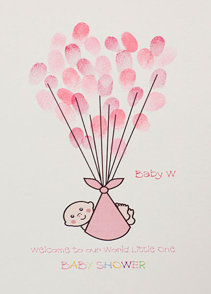 Baby Shower - Baby in Pink Blanket with string for Balloons