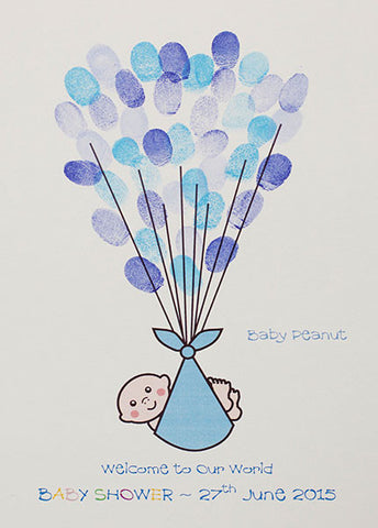Baby Shower -  Baby in Blue Blanket with strings for Fingerprint Balloons