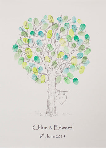 Hand Drawn Oak Tree Fingerprint Tree