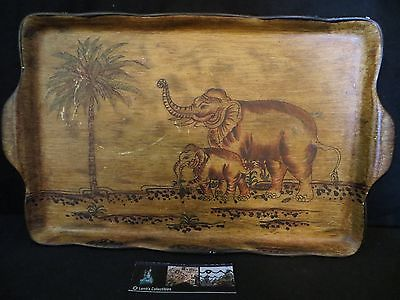 Mom Elephant & Baby Elephant Ceramic serving tray platter with palm tree