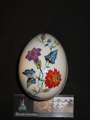 Limoges Porcelain Egg shaped trinket box with flowers made in France