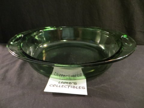 Vintage Anchor Hocking green glass baking dish 2 quart oval casserole pan