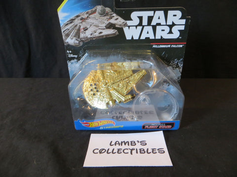 Star Wars Golden Hot Wheels Millennium Falcon Die cast starship with stand