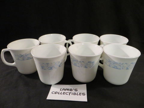 Corelle coffee cups Sea and Sand Corning white light blue tan floral D handle