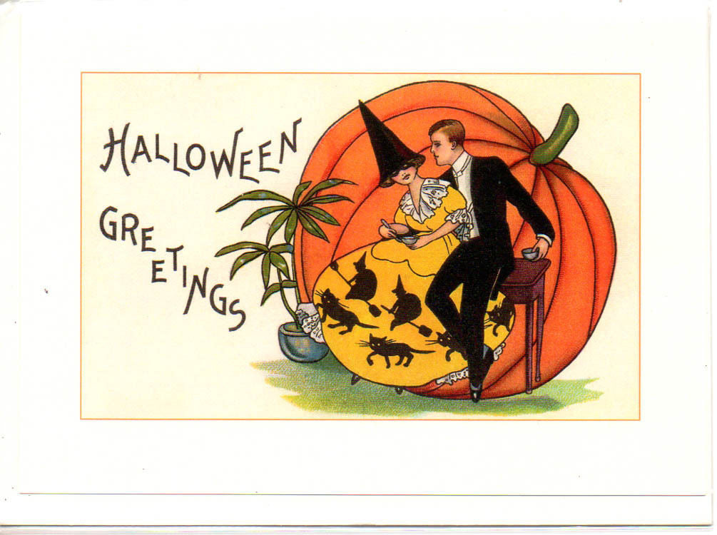 Vintage Repro Halloween Couple Greeting Cards Set of 3 Jack O ...