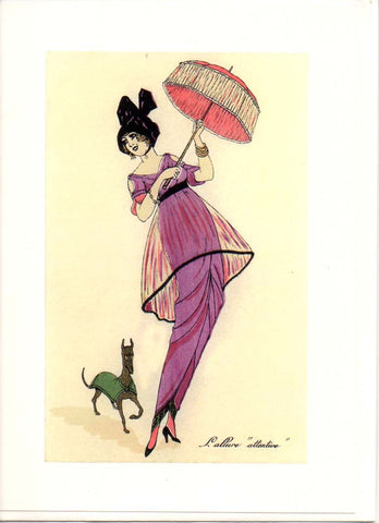FRENCH FASHION Ladies 2 Greeting Cards Vintage Reproductions Brand New Pink Red