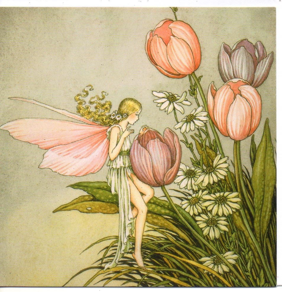 Ida Rentoul Outhwaite Tending The Flowers Fairy Cards 2 Pink Square