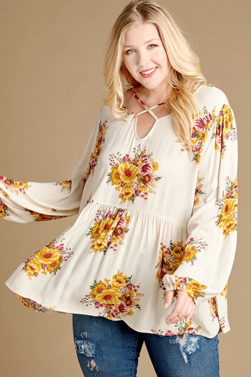 Plus Size Floral Babydoll Top with Criss Cross Detail