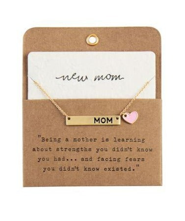New Mom Necklace - Pink