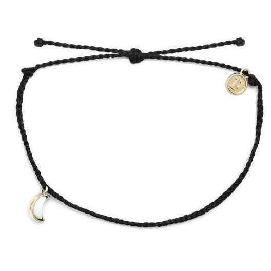 Crescent Moon Anklet by Pura Vida - Gold/Black