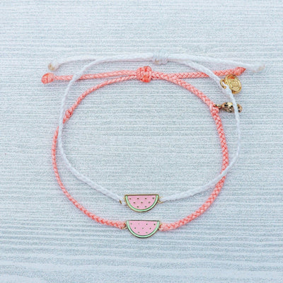 Watermelon Charm Bitty Braid Bracelet by Pura Vida - White