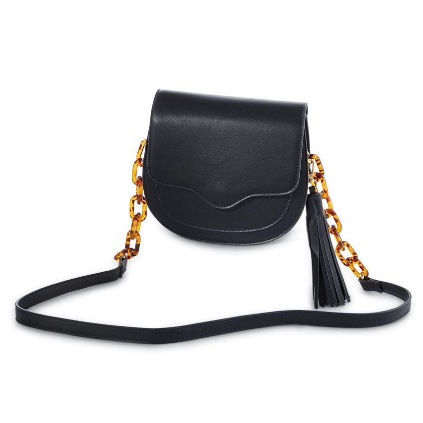 Black Leather Resin Link Crossbody Bag