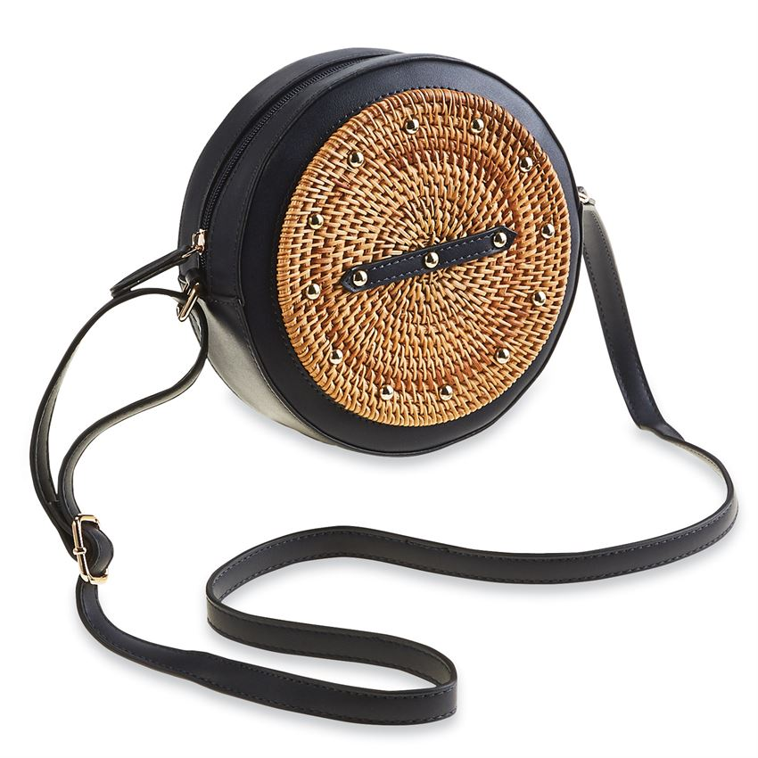 Navy Rattan Circle Studded Crossbody Bag
