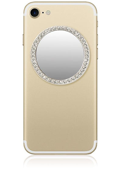 Circle Cell Phone Mirror in Silver w/Crystals
