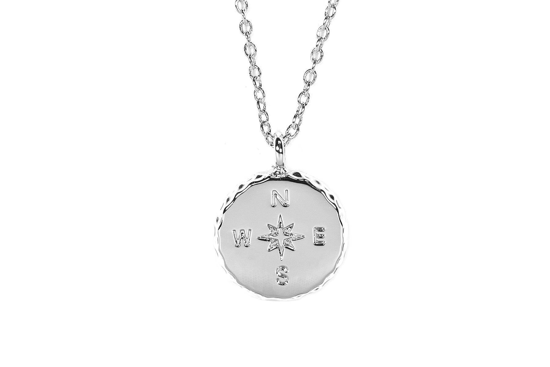 Silver Compass Necklace by Pura Vida