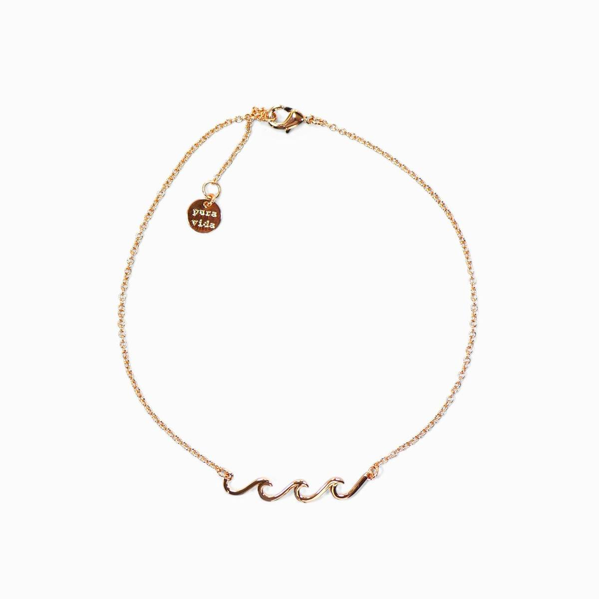 Rose Gold Delicate Wave Anklet by Pura Vida