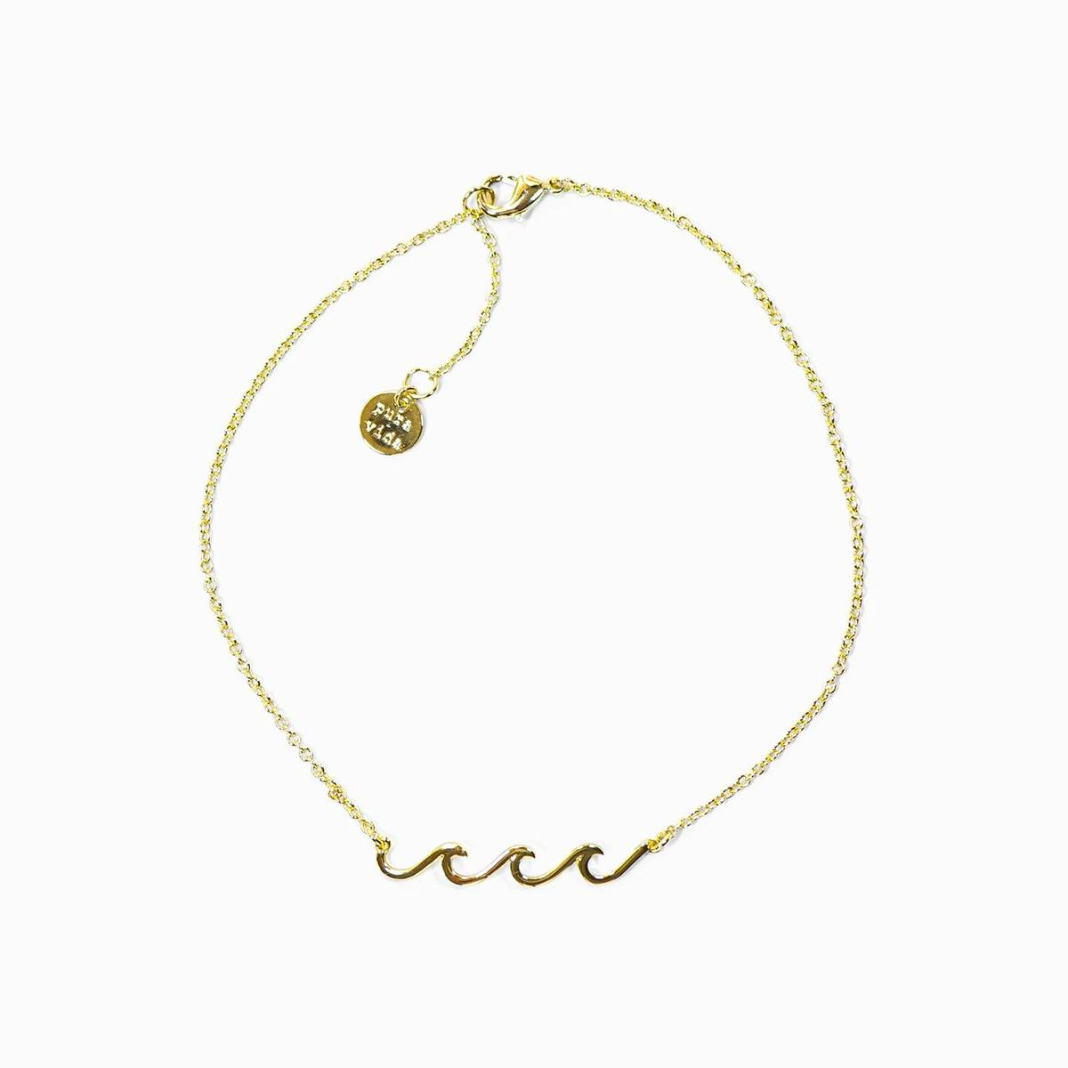 Gold Delicate Wave Anklet by Pura Vida