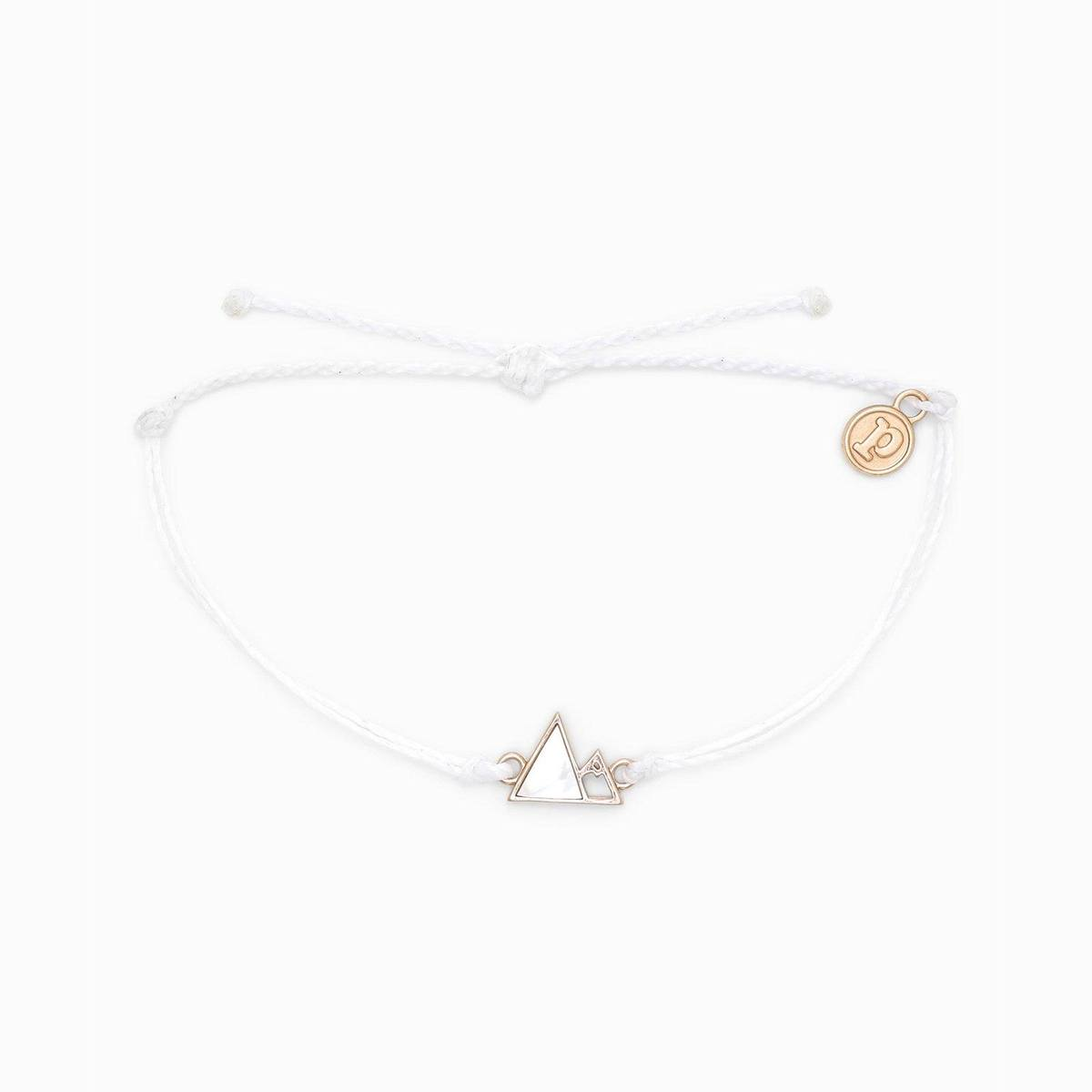 Rose Gold Gem Mountain Charm Bracelet by Pura Vida - White