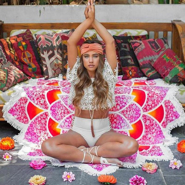 MANDALA LOTUS YOGA TAPESTRY / TOWEL