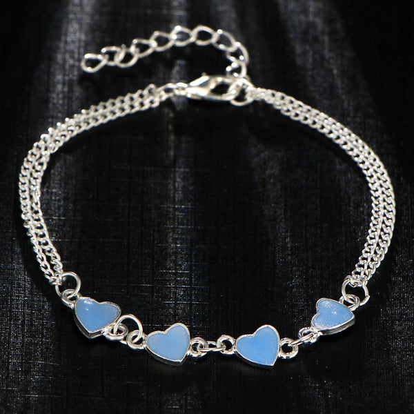 GLOW IN THE DARK BLUE HEARTS BRACELET - TECHNOCATZ