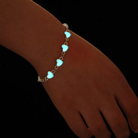 GLOW IN THE DARK BLUE HEARTS BRACELET