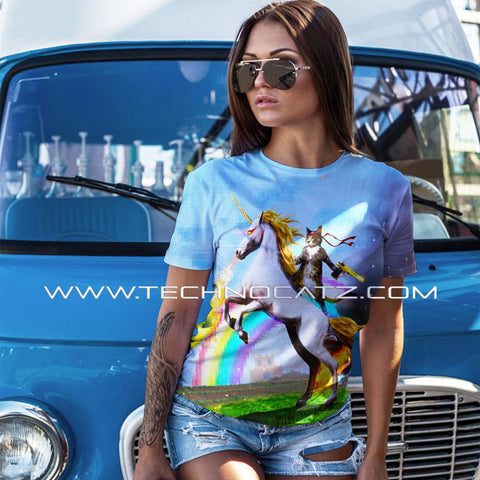 UNICORN-RIDING CAT SHIRT - TECHNOCATZ