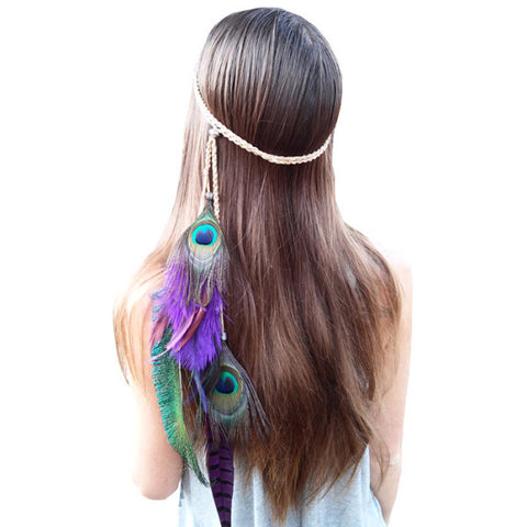 BOHEMIAN FEATHERS HIPPIE HEADBAND FOR FESTIVALS - TECHNOCATZ