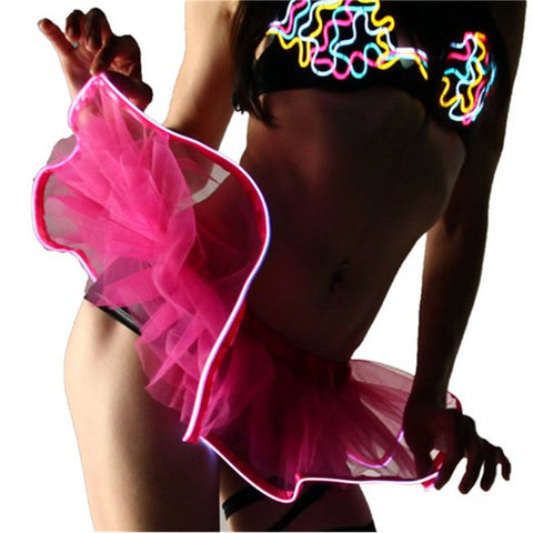 FLASHING LIGHT RAVE PARTY MINI-SKIRT - TECHNOCATZ