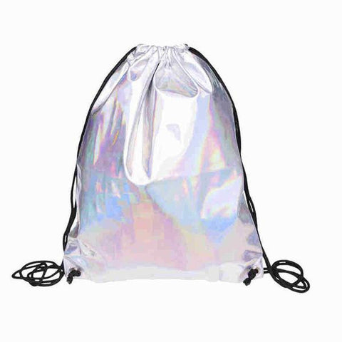 REFLECTIVE RAINBOW HOLOGRAPHIC DRAWSTRING BAG - TECHNOCATZ