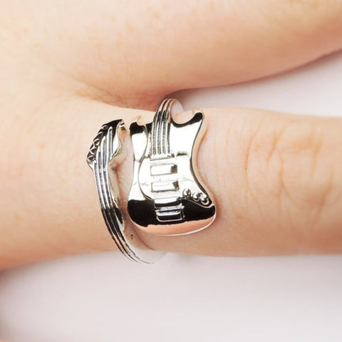 ROCK GUITAR SILVER PLATING RING - TECHNOCATZ