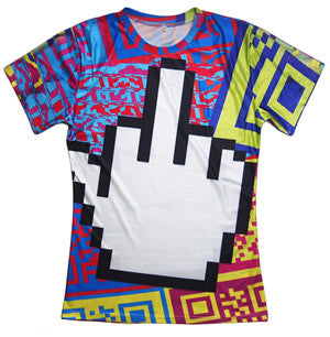 PSYCHEDELIC FLIPPED-OFF MIDDLE FINGER TRIPPY TSHIRT - TECHNOCATZ