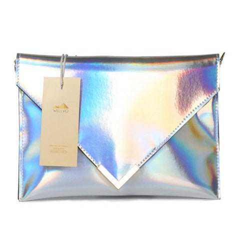 REFLECTIVE RAINBOW HOLOGRAPHIC ENVELOPPE HANDBAG - TECHNOCATZ