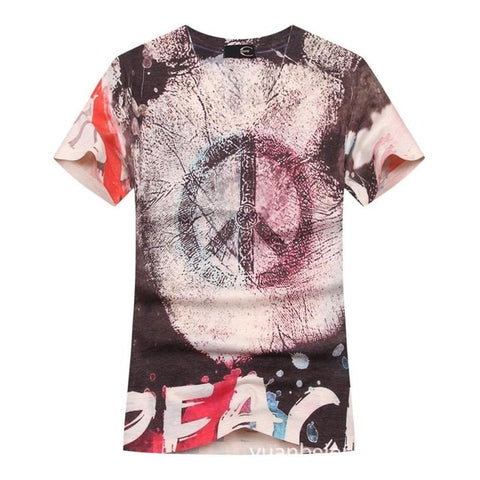 HIPPIE PEACE AND LOVE RETRO TSHIRT - TECHNOCATZ