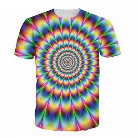 HYPNOTIC OPTICAL ILLUSION HIPPIE TSHIRT - TECHNOCATZ