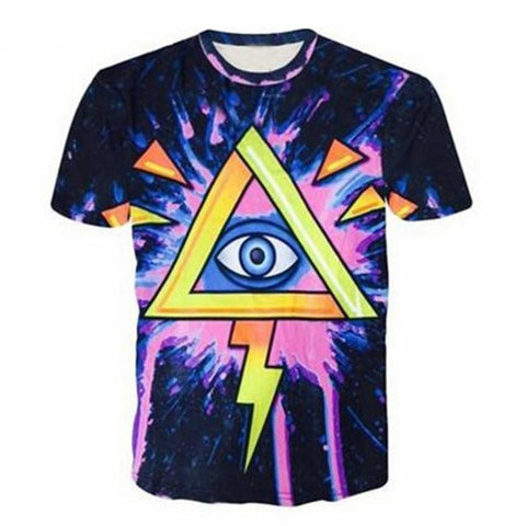 ALL-SEEING EYE PSYCHEDELIC HIPPIE TSHIRT - TECHNOCATZ