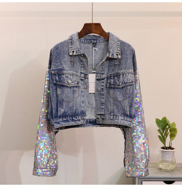 LOVE UNICORN DENIM SEQUINED WOMEN JACKET - TECHNOCATZ