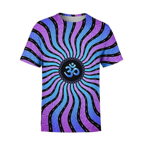 PSYCHEDELIC GEOMETRIC PATTERNS SUMMER BUDDHIST OHM TSHIRT - TECHNOCATZ