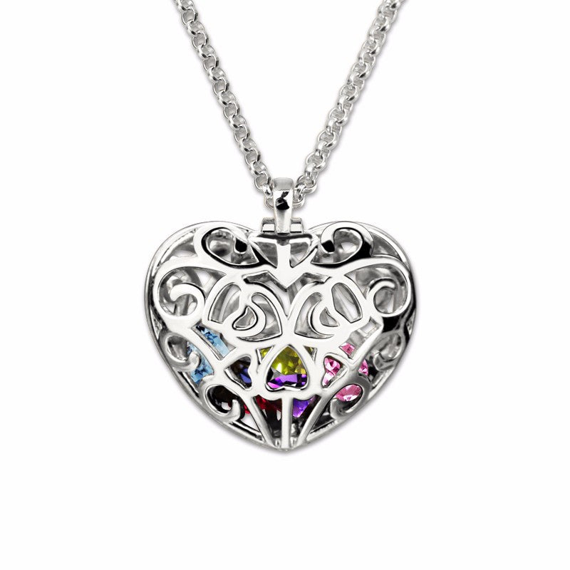 Genuine 925 sterling silver personalized heart cage pendant with genuine 925 sterling silver personalized heart cage pendant with birthstones necklace aloadofball Gallery